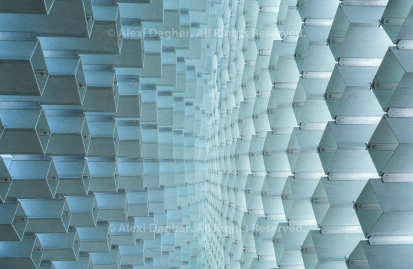 Inside, Looking Up The Serpentine Gallery summer pavilion - designed by Danish architects BIG (Bjarke Ingels Group) with a structure of hollow fibreglass blocks - Kensington Gardens, London, England, 2016